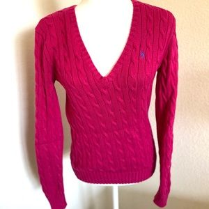 Ralph Lauren sport cable knit v neck sweater pink